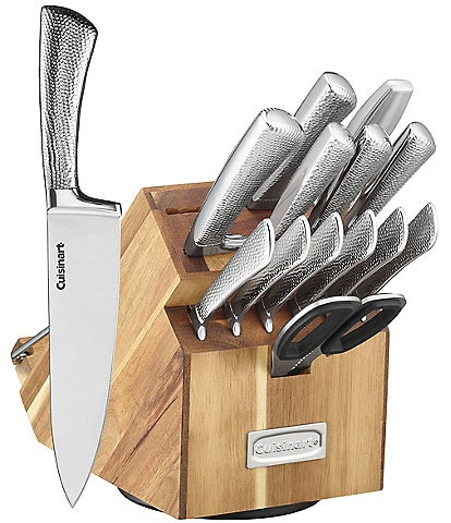 Cuisinart 15-Piece Shogun Hammered Cutlery Set with Rotating Acacia Block