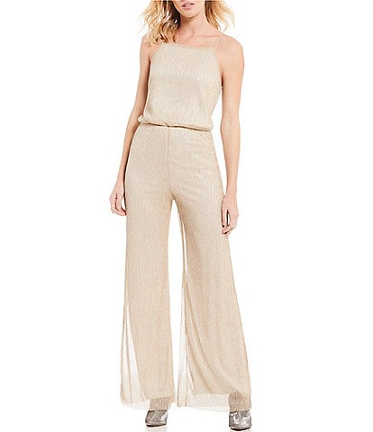 Cupcakes & Cashmere Campbell Metallic Wide Leg Jumpsuit