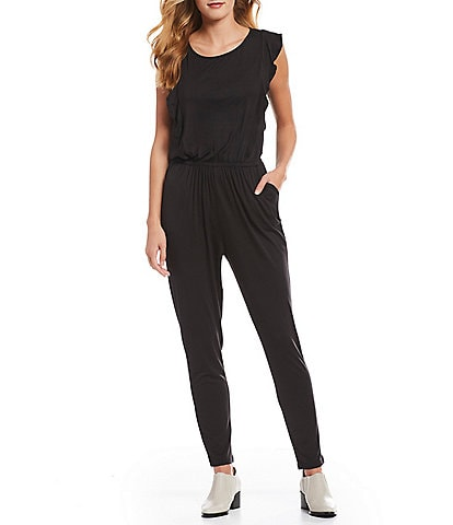 Cupcakes & Cashmere Carlina Statement Shoulder Ruffle Knit Jumpsuit