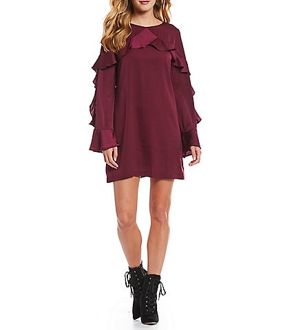 Cupcakes & Cashmere Jafar Ruffle Bell Sleeve Mini Shift Dress