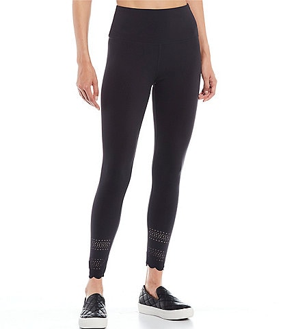 Cut The Frills Scallop Hem Laser Cut Leggings