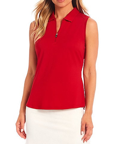 Cutter & Buck Forge Stretch Point Collar Zip Neck Sleeveless Polo Top