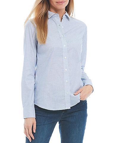 Cutter & Buck Point Collar Long Sleeve Stretch Oxford Stripe Dress Shirt