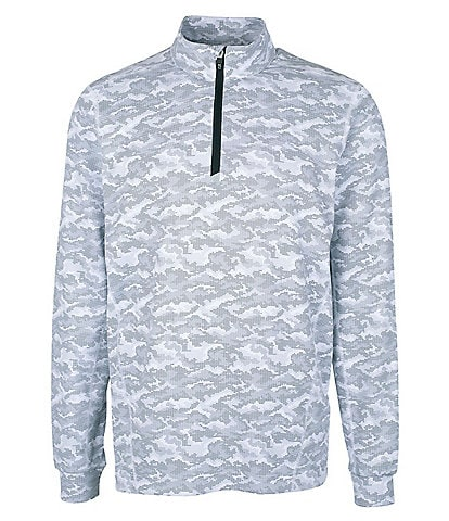 Cutter & Buck Traverse Long-Sleeve Camouflage-Printed Pullover