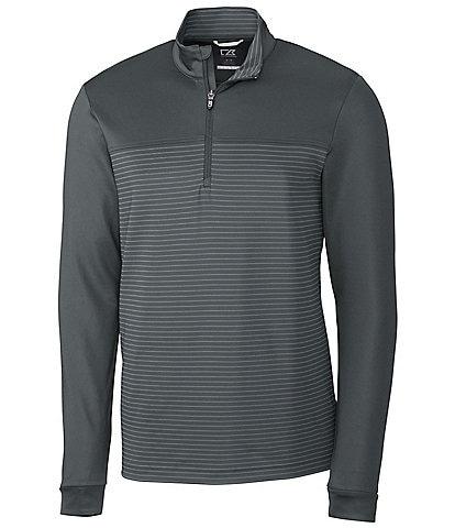 Cutter & Buck Traverse Solid/Stripe Quarter-Zip Pullover