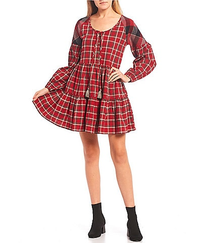 C&V Chelsea & Violet Checkered Plaid Raglan Sleeve Tiered Babydoll Dress