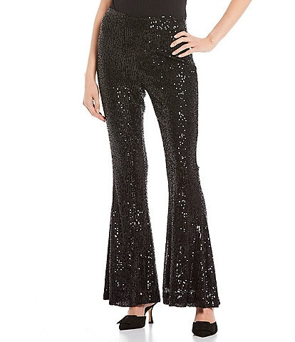 C&V Chelsea & Violet Coordinating Mid-Rise Flared Sequin Pants