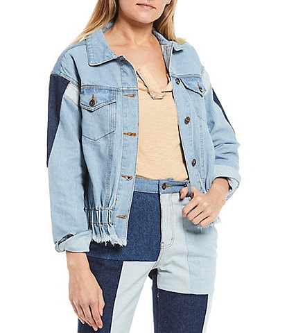 C&V Chelsea & Violet Coordinating Patchwork Denim Jacket