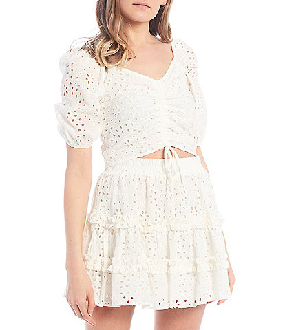 C&V Chelsea & Violet Coordinating Puff Sleeve Cinched Eyelet Top