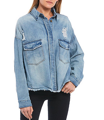 C&V Chelsea & Violet Destructed Frayed Hem Denim Shirt Jacket