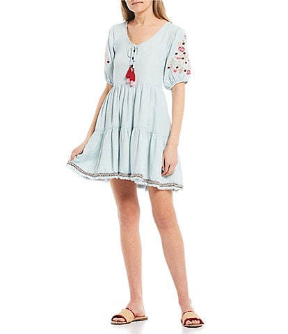 C&V Chelsea & Violet Embroidered Chambray Tassel Dress