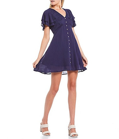 C&V Chelsea & Violet Embroidered Flutter Sleeve Dress