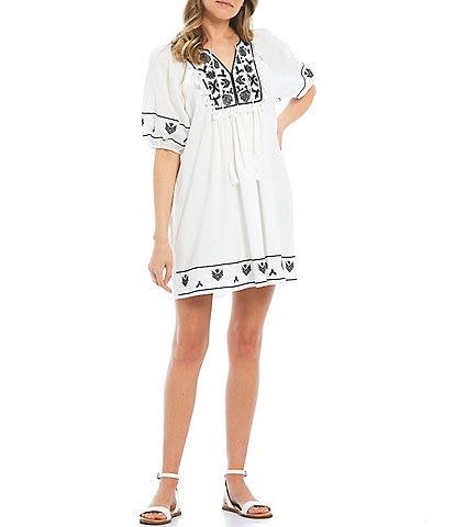 C&V Chelsea & Violet Embroidered Tunic Dress