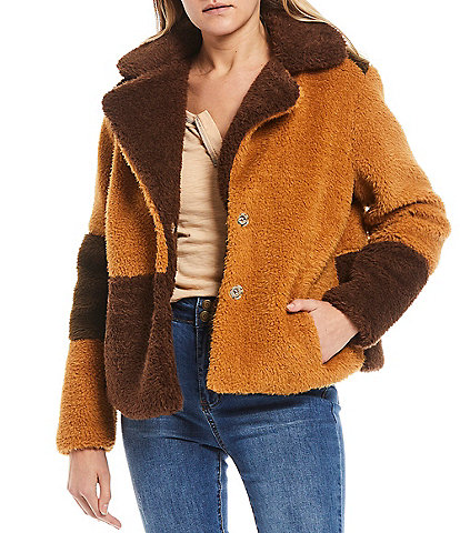 C&V Chelsea & Violet Faux Fur Color Block Button Front Jacket