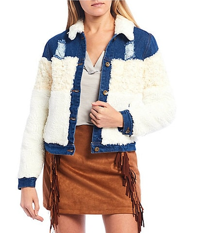 C&V Chelsea & Violet Faux Fur Distressed Denim Detail Jacket