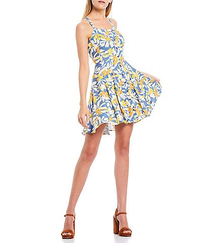 C&V Chelsea & Violet Floral Printed Button Front Lace-Up Back Sleeveless Swing Dress