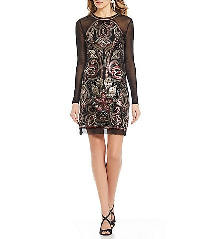 C&V Chelsea & Violet Floral Sequin & Metallic Embroidered Mesh Dress