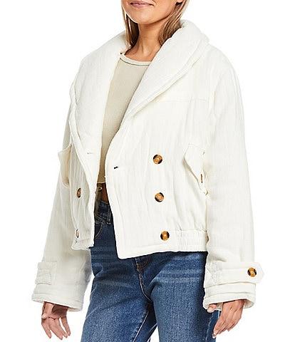 C&V Chelsea & Violet Fluff Shawl Collar Snap Button Pocket Linen Cozy Jacket