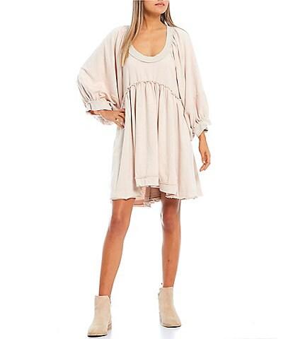 C&V Chelsea & Violet Frayed Seam French Terry Oversized Babydoll Dress