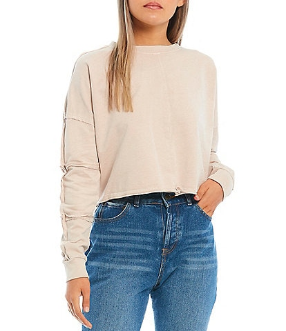 C&V Chelsea & Violet Frayed Seamed Long Sleeve French Terry Cropped Pullover