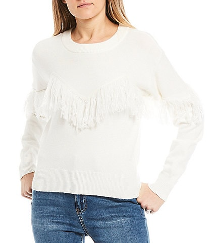 C&V Chelsea & Violet Fringe Long Sleeve Sweater