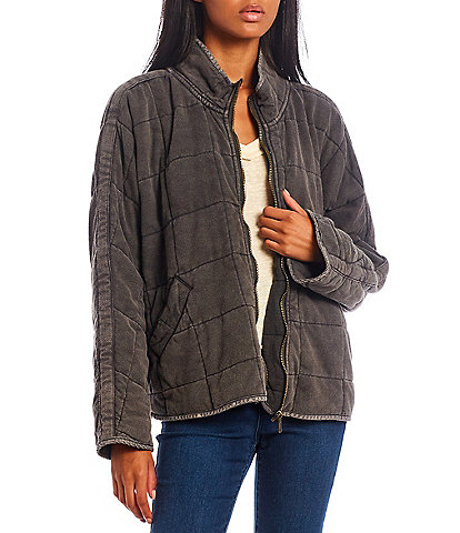 C&V Chelsea & Violet Full Zip Long Sleeve Washed Knit Stand Collar Quilted Jacket