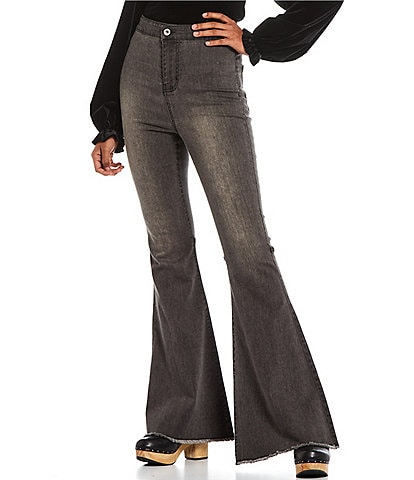 C&V Chelsea & Violet High Rise Raw Edge Flare Jeans