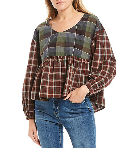 C&v Chelsea & Violet Long Sleeve Checkered Plaid Babydoll Top