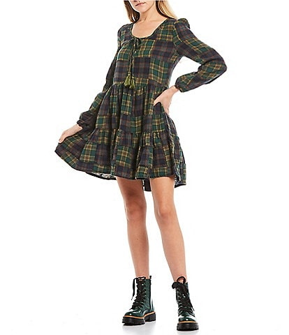 C&V Chelsea & Violet Long Sleeve Plaid Check Print Tiered Dress
