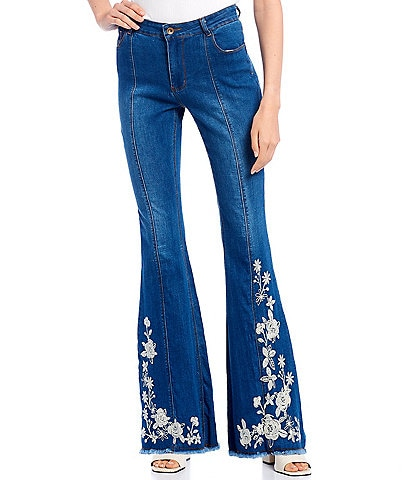 C&V Chelsea & Violet Mid Rise Embroidered Flare Jeans