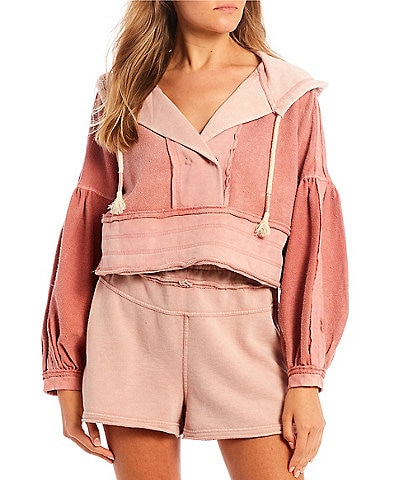C&V Chelsea & Violet Mixed Media Balloon Sleeve Cropped Hoodie