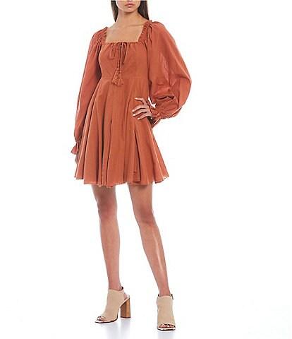 C&V Chelsea & Violet Mixed Media Puff Sleeve Smocked Back Dress