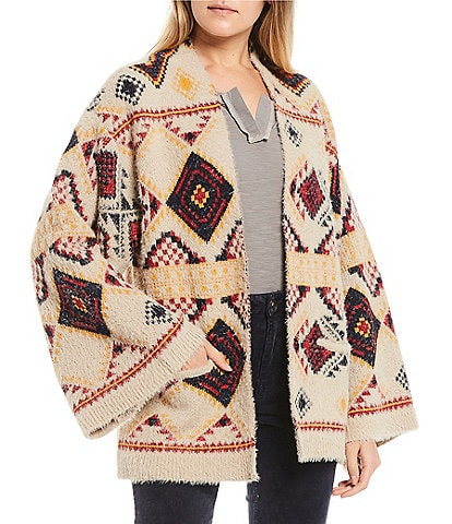 C&V Chelsea & Violet Open Front Printed Wide Sleeve Cardigan Sweater