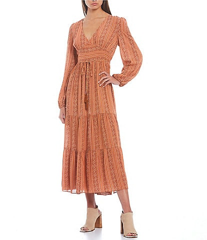 C&V Chelsea & Violet Peasant Sleeve Tiered Maxi Dress
