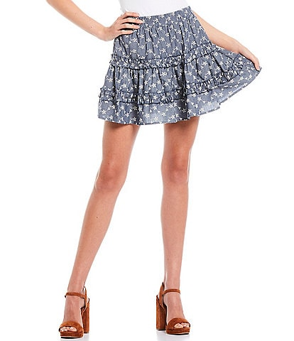C&V Chelsea & Violet Coordinating Printed Ruffle Mini Skirt