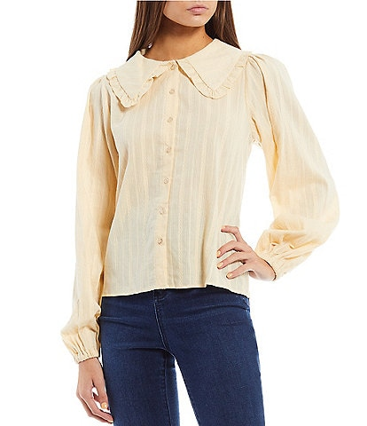 C&V Chelsea & Violet Ruffle Collar Long Puff Sleeve Button Down Top