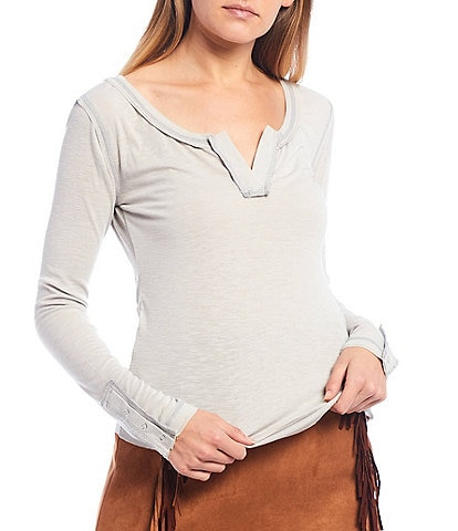 C&V Chelsea & Violet Split Neck Long Sleeve Knit Cotton Tee