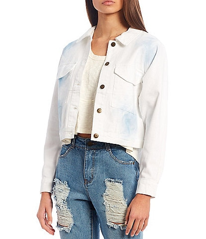 C&V Chelsea & Violet Spray Wash Cropped Denim Jacket