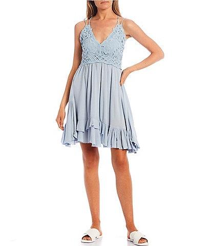 C&V Chelsea & Violet Strappy Lace Ruffle Hem Detail Dress