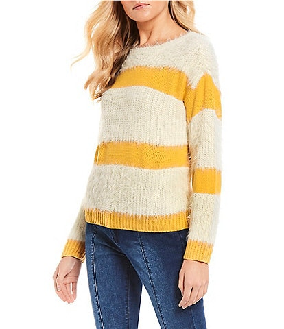 C&V Chelsea & Violet Stripe Eyelash Knit Sweater