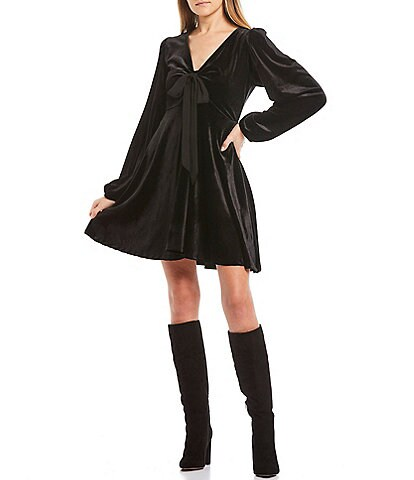 C&V Chelsea & Violet Velvet Bow Front Detail Long-Balloon-Sleeve Swing Dress