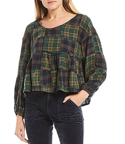 C&V Chelsea & Violet Woven Ruffle Plaid Checker Print Cotton Top