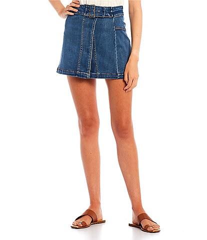 C&V Chelsea & Violet Wrap Front Denim Mini Skirt