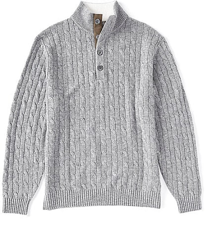 Daniel Cremieux Signature Cashmere Cable Knit Button Mock Neck Sweater