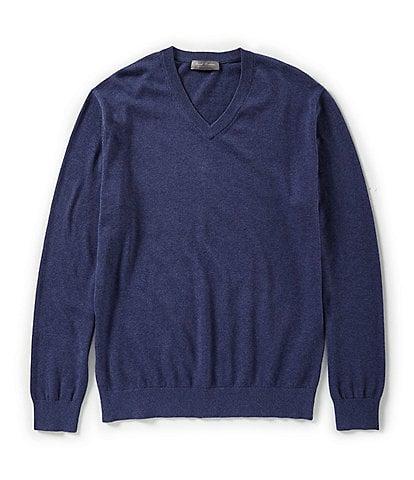 Daniel Cremieux Signature Solid Supima Long-Sleeve V-Neck Sweater