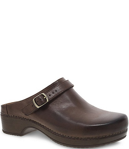Dansko Berry Leather Buckle Strap Detail Block Heel Clogs