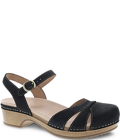 Dansko Betsey Suede Leather Ankle Strap Clogs