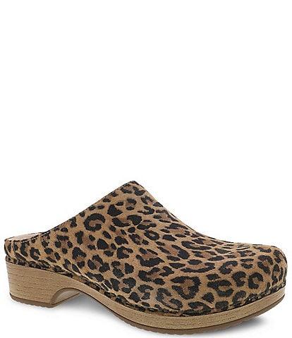 Dansko Brenda Leopard Print Suede Block Heel Clogs