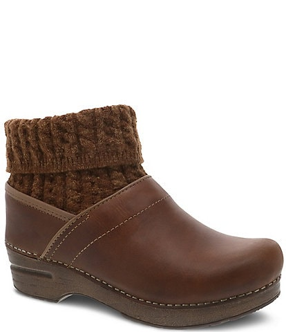 Dansko Chloe Sweater Sock Leather Clogs