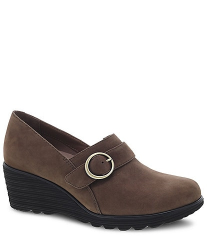 Dansko Clio Suede Buckle Wedges